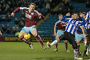 Rouwen Hennings (Burnley) has a shot blocked during the Sky Bet Championship match between Sheffield Wednesday and Burnley at Hillsborough, Sheffield, England on 2 February 2016. Photo by Mark Doherty.