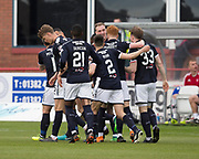 5th May 2018, Dens Park, Dundee, Scotland; Scottish Premier League football, Dundee versus Hamilton Academical; Kevin Holt of Dundee is congratulated after scoring