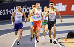 Germany's Christoph Kessler (right) wins the 800m Men Heat 2 ahead of Great Britain's Guy Learmonth (left) in second during day one of the European Indoor Athletics Championships at the Emirates Arena, Glasgow.