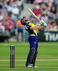 Hamish Marshall of Gloucestershire reacts after missing a shot - Photo mandatory by-line: Dan Mullan/JMP - 07966 386802 - 16/05/2014 - SPORT - CRICKET - County Cricket Ground - Gloucester Cricket v Somerset Cricket - T20