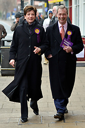 © Licensed to London News Pictures. 27/02/2013. Eastleigh, UK UKIP leader Nigel Farage (right) and UKIP candidate Diane James campaign in Eastleigh town centre today 27th February 2013. Voting in the Eastleigh by-election takes place tomorrow (28/02/13). Photo credit : Stephen Simpson/LNP