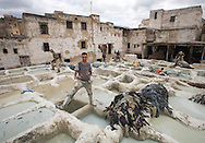 Men working in centuries-old tannery, Fez, Morocco