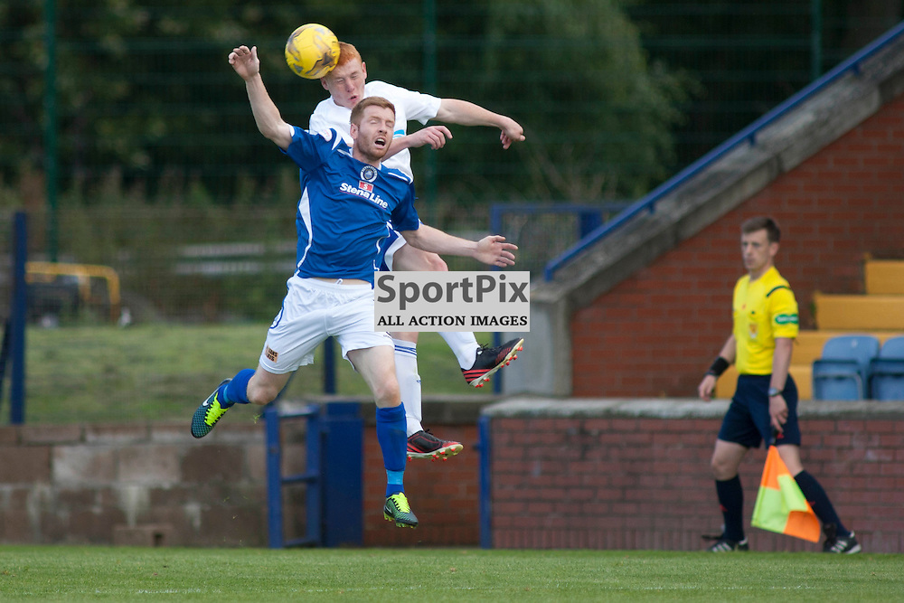 Nathan Blockley (Peterhead 2) gets the header in the Stranraer v Peterhead Ladbrokes SPFL Scottish Division 1 at Stair Park in Stranraer 15 August 2015<br />