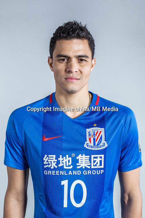 Portrait of Colombian soccer player Giovanni Moreno of Shanghai Greenland Shenhua F.C. for the 2017 Chinese Football Association Super League, in Shanghai, China, 22 January 2017.