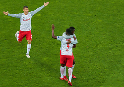 03.05.2018, Red Bull Arena, Salzburg, AUT, UEFA EL, FC Salzburg vs Olympique Marseille, Halbfinale, Rueckspiel, im Bild Torjubel Salzburg nach dem 1:0 durch Amadou Haidara (FC Salzburg), Stefan Lainer (FC Salzburg), Diadie Samassekou (FC Salzburg) // during the UEFA Europa League Semifinal, 2nd Leg Match between FC Salzburg and Olympique Marseille at the Red Bull Arena in Salzburg, Austria on 2018/05/03. EXPA Pictures © 2018, PhotoCredit: EXPA/ JFK
