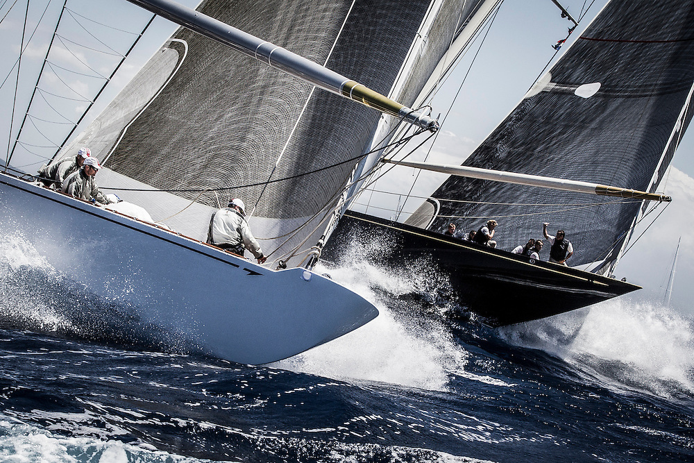 SPAIN, Palma. 19th June 2013. Superyacht Cup. J Class. Race One. Ranger (left) and Velsheda approach the top mark.