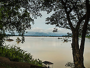 20 JUNE 2016 - DON KHONE, CHAMPASAK, LAOS: The Mekong River at the south end of Don Khone Island. Don Khone Island, one of the larger islands in the 4,000 Islands chain on the Mekong River in southern Laos. The island has become a backpacker hot spot, there are lots of guest houses and small restaurants on the north end of the island.     PHOTO BY JACK KURTZ