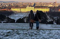 THEMENBILD - Winter im Schlosspark Schönbrunn. Das Bild wurde am 9. Dezember 2012 aufgenommen. im Bild Spaziergaenger und Schloss Schönbrunn // THEME IMAGE FEATURE - Winter at Palace Garden Schoenbrunn. The image was taken on december, 9th, 2012. Picture shows walker and Schoenbrunn, AUT, EXPA Pictures © 2012, PhotoCredit: EXPA/ M. Gruber