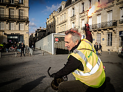 People from the yellow vest movement protest in Bordeaux during the act 12 of the movement.on February 02, 2019 in Bordeaux, France. Photo by Alban Dejong /ABACAPRESS.COM