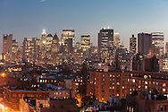 New York. elevated view on the Bowery , and lower manhattan cityscape - United states / le panorama de Bowery et du bas de Manhattan downtown vu d'en haut - New York - Etats-unis