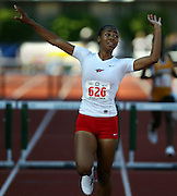 05/23/2009 - Lincoln's Tiara Pittman (626) reacts in surprise as she wins the 6A Girl's 300 Meter Hurdles. The 2009 OSAA/U.S. Bank/Les Schwab Tires 6A-5A-4A Track and Field State Championships were run at Hayward Field in Eugene, Oregon.....KEYWORDS:  City, Portland, sports, Oregon, high school, OSAA, boys, girls, PIL, run, University, team