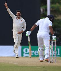 July 15, 2017 - Colombo, Sri Lanka - Zimbabwe's cricket captain Graeme Cremer celebrates after taking a wicket during the 2nd day's play of the only test cricket match between Sri Lanka and Zimbabwe in Colombo, Sri Lanka, Saturday, July 15, 2017  (Credit Image: © Tharaka Basnayaka/NurPhoto via ZUMA Press)