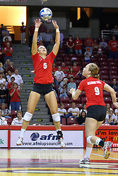 28 AUG 2009: Jessica Pratapas set up the ball as Katie Culbertson strides into position. The Redbirds of Illinois State defeated the Runnin' Bulldogs of Gardner-Webb in 3 sets during play in the Redbird Classic on Doug Collins Court inside Redbird Arena in Normal Illinois