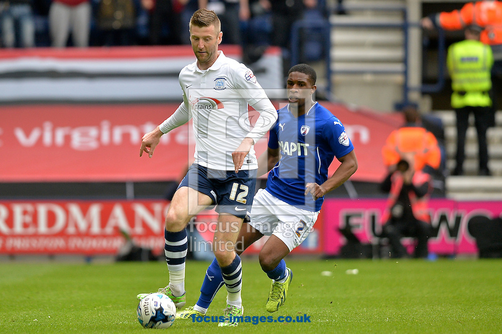 Paul Gallagher of Preston North End (left) and Tendayi Darikwa of Chesterfield (right) during the Sky Bet League 1 playoff match at Deepdale, Preston<br /> Picture by Ian Wadkins/Focus Images Ltd +44 7877 568959<br /> 10/05/2015