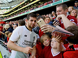 DUBLIN, REPUBLIC OF IRELAND - Saturday, August 5, 2017: Liverpool's Jon Flanagan poses for photographs with the supporters after a preseason friendly match between Athletic Club Bilbao and Liverpool at the Aviva Stadium. (Pic by David Rawcliffe/Propaganda)