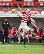 12th August 2017, SuperSeal Stadium, Hamilton, Scotland; SL Football league Hamilton Academicals versus Dundee; Hamilton's Ali Crawford and Dundee's Danny Williams synchronised flying