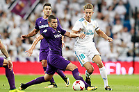 Real Madrid's Marcos Llorente (r) and ACF Fiorentina's Valentin Eysseric during Santiago Bernabeu Trophy. August 23,2017. (ALTERPHOTOS/Acero)