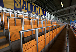 A general view of the new fan safe standing area during a pre season friendly match at Montgomery Waters Meadow, Shrewsbury.