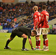 the bristol city wall is moved back 10 yards during the Sky Bet Championship match between Bolton Wanderers and Bristol City at the Macron Stadium, Bolton, England on 7 November 2015. Photo by Mark Pollitt.