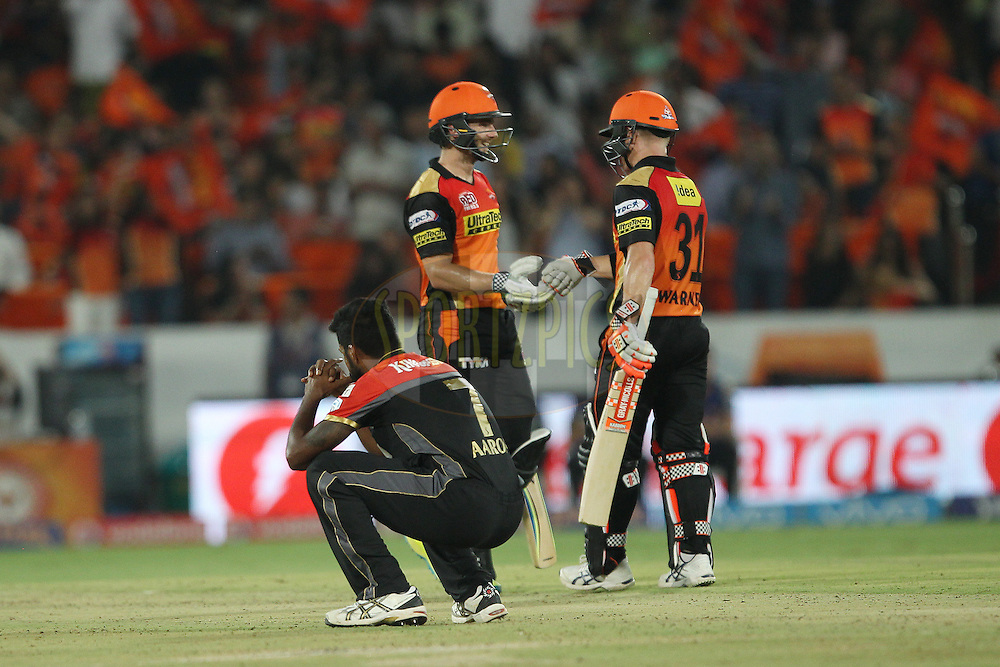 Varun Aaron of Royal Challengers Bangalore  reacts after a delivery  during match 27 of the Vivo IPL 2016 (Indian Premier League ) between the Sunrisers Hyderabad and the Royal Challengers Bangalore held at the Rajiv Gandhi Intl. Cricket Stadium, Hyderabad on the 30th April 2016<br /> <br /> Photo by Ron Gaunt / IPL/ SPORTZPICS