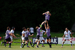A lineout during the match - Photo mandatory by-line: Rogan Thomson/JMP - Tel: Mobile: 07966 386802 01/09/2013 - SPORT - RUGBY UNION - Station Road, Cribbs Causeway, Bristol - Clifton RFC v Bristol Rugby - Pre Season Friendly.