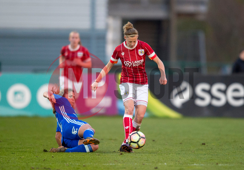 Paige Williams of Birmingham City Ladies challenges Yana Daniels of Bristol City Women - Mandatory by-line: Paul Knight/JMP - 28/03/2018 - FOOTBALL - Stoke Gifford Stadium - Bristol, England - Bristol City Women v Birmingham City Ladies - FA Women's Super League