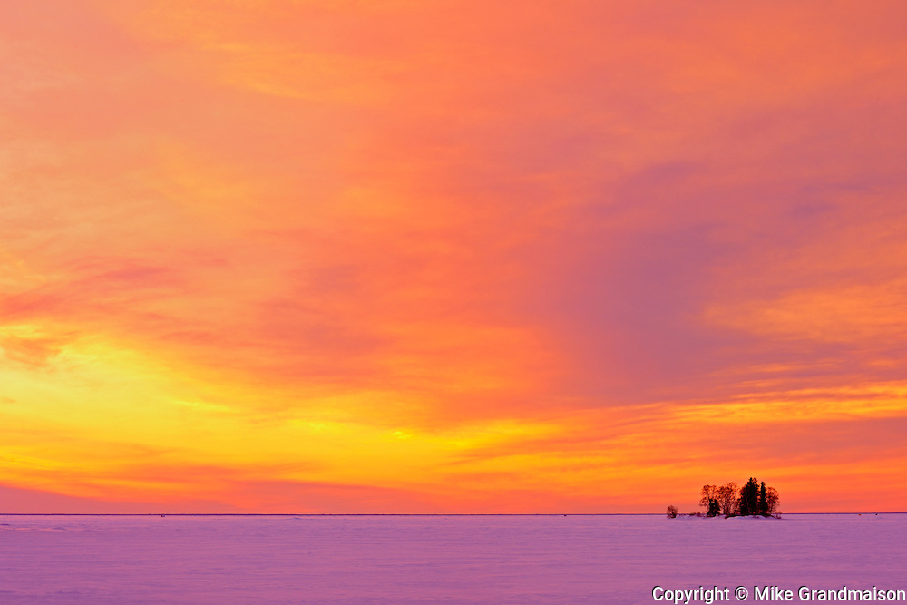 Sunset light on Clearwater Lake with Snake Island<br /> Clearwater  Provincial Park<br /> Manitoba<br /> Canada