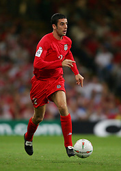 CARDIFF, WALES - Wednesday, September 8, 2004: Wales' Mark Delaney in action against Northern Ireland during the Group Six World Cup Qualifier at the Millennium Stadium. (Pic by David Rawcliffe/Propaganda)