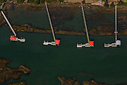 Aerial view of waterfront long docks along the marsh in Charleston, SC.