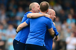 Accrington Stanley manager John Coleman celebrates with his team - Mandatory by-line: Dougie Allward/JMP - 21/04/2018 - FOOTBALL - Adam's Park - High Wycombe, England - Wycombe Wanderers v Accrington Stanley - Sky Bet League Two