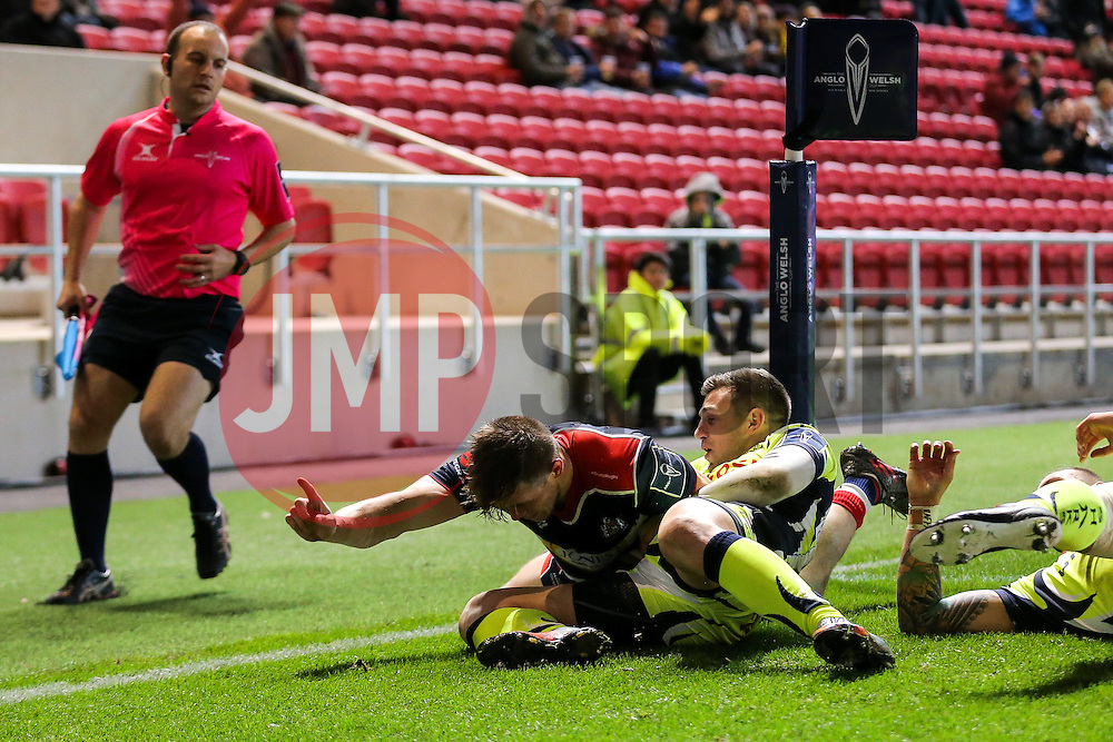 Jason Woodward of Bristol Rugby celebrates scoring a try - Rogan Thomson/JMP - 11/11/2016 - RUGBY UNION - Ashton Gate Stadium - Bristol, England - Bristol Rugby v Sale Sharks - Anglo Welsh Cup.