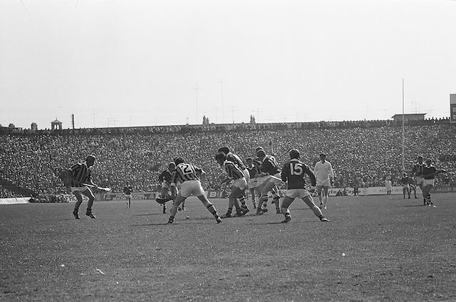 Group of players fight for the slitor during at the All Ireland Senior Hurling Final, Cork v Kilkenny in Croke Park on the 3rd September 1972. Kilkenny 3-24, Cork 5-11.