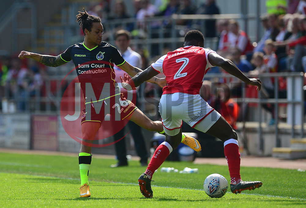 Kyle Bennett of Bristol Rovers puts pressure on Jon Taylor of Rotherham United - Mandatory by-line: Alex James/JMP - 21/04/2018 - FOOTBALL - Aesseal New York Stadium - Rotherham, England - Rotherham United v Bristol Rovers - Sky Bet League One