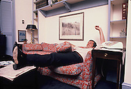Ham Jordan relaxes in his office at the White House in June 1977.  Photo ran in TIME magazine.<br /> Photo by Dennis Brack