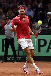 23.11.2014, Stade Pierre Mauroy, Lille, FRA, Davis Cup Finale, Frankreich vs Schweiz, im Bild Roger Federer (SUI) jubelt // during the Davis Cup Final between France and Switzerland at the Stade Pierre Mauroy in Lille, France on 2014/11/23. EXPA Pictures © 2014, PhotoCredit: EXPA/ Freshfocus/ Valeriano Di Domenico<br /> <br /> *****ATTENTION - for AUT, SLO, CRO, SRB, BIH, MAZ only*****
