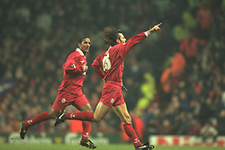 Liverpool, England - Wednesday, November 27th, 1996: Liverpool's Patrik Berger celebrates scoring the fourth goal, with team-mate Phil Babb, during the 4-2 victory over Arsenal during the 4th Round of the League Cup at Anfield. (Pic by David Rawcliffe/Propaganda)