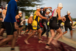 September 30, 2018 - Tanjung Lesung, Banten, Indonesia - Triathlon athletes during 2018 Rhino Cross Triathlon at Tanjung Lesung, Banten, Indonesia on September 30, 2018. Rhino Cross Triathlon is the second edition of the first cross triathlon competition in Indonesia which competes 100 triathletes from 7 countries including USA, Japan, Netherlands, New Zealands and France. (Credit Image: © Afriadi Hikmal/ZUMA Wire)