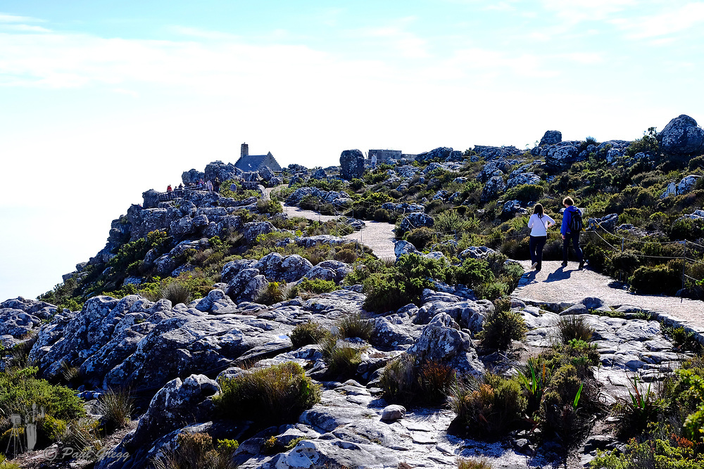 Cape Town, South Africa. Table Mountain. Tourist walk along the pathway with the restaurant on the skyline.