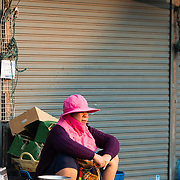 Lao woman working at Khua Din market in Vientiane