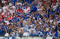 Supporters of Greece celebrate during the UEFA EURO 2012 group A match between Poland and Greece at The National Stadium on June 8, 2012 in Warsaw, Poland.  (Photo by Vid Ponikvar / Sportida.com)