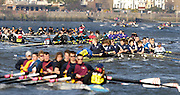 Hammersmith, GREAT BRITAIN, Confusion and Mayhem, as the crews approach the rough water on the Hammersmith Bend by Chiswick Eyot,  during the 2007 Head of the River race on Sat 31.03.2007, England [Photo Peter Spurrier/Intersport Images] , Rowing Course: River Thames, Championship course, Putney to Mortlake 4.25 Miles,