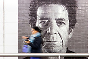 Mosaic mural of musician Lou Reed  by artist Chuck Close on the walls of the 86th street station on the new 2nd Avenue Subway line in New York.