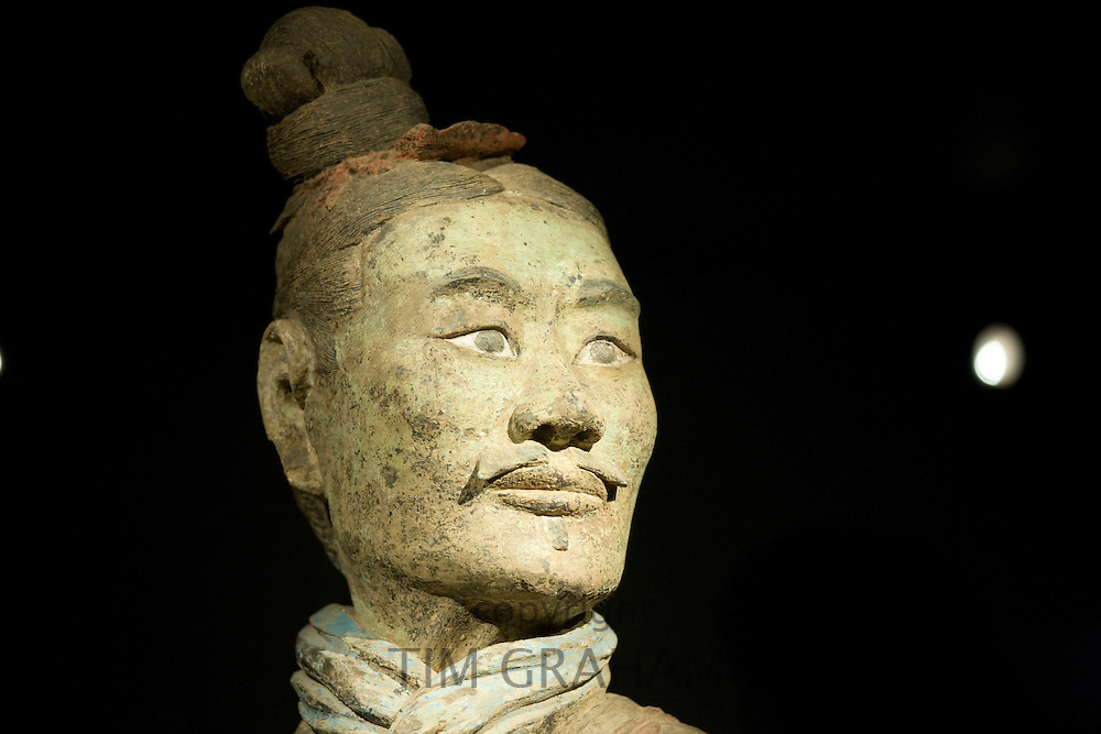 Three coloured Terracotta warrior on display in the Shaanxi History Museum, Xian, China