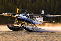 The Texas Turbines Conversion engine and Hartzell propellor combo slice out the moisture as this Alkan Air Ltd. Cessna 208 Caravan departs Schwatka Lake.