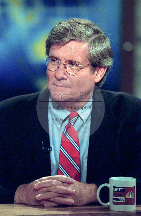 Journalist Fred Barnes discusses the ongoing Lewinsky scandal during NBC's Meet the Press September 6, 1998 in Washington, DC.