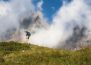 Hiker on the Via Alpina, Swiss Alps