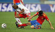 Gelson FERNANDES and David VILLA  during the 2010 FIFA World Cup South Africa Group H match between Spain and Switzerland at Durban Stadium on June 16, 2010 in Durban, South Africa.