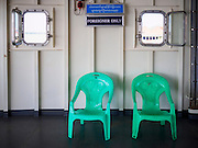 30 OCTOBER 2015 - YANGON, MYANMAR:  Seats reserved for foreigners on the Dala ferry. The ferry to Dala runs continuously through the day between Yangon and Dala. Yangon, Myanmar (Rangoon, Burma). Yangon, with a population of over five million, continues to be the country's largest city and the most important commercial center.          PHOTO BY JACK KURTZ