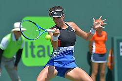 March 26, 2018 - Miami, FL, United States - KEY BISCAYNE, FL - March, 26: Garbine Muguruza in action here during the 2018 Miami Open on March 24, 2018, at the Tennis Center at Crandon Park in Key Biscayne, FL. (Credit Image: © Andrew Patron via ZUMA Wire)