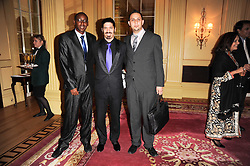 Left to right, PIERRE KAYITANA, OMRI BEZALEL and ISMAIL AL QAISI at a reception hosted by Films Without Borders at the Lanesborough Hotel, Hyde Park Corner, London on 27th October 2010.